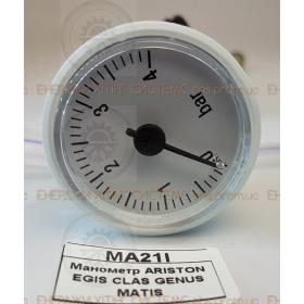 Манометр давления воды ARISTON EGIS CLAS GENUS MATIS, 0 - 4 bar, диаметр 40 мм,  65104234