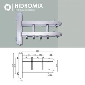 Гидрострелка с коллектором Hidromix 2 нижних выхода до 180 кВт