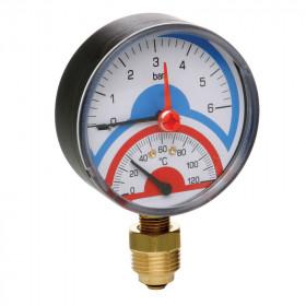 Термоманометр Icma №258 радиаторный с запорым клапаном 1/2