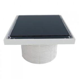 Надставки для трапа Styron STY-505-GFF со стеклянной решеткой или под плитку (BLACK) 150х150