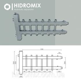 Гидрострелка с двухсторонним коллектором Hidromix 3 выхода 75 кВт