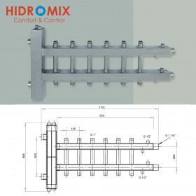 Гидрострелка с двухсторонним коллектором Hidromix на 6 выходов 75 кВт (3 вверх/3 вниз)