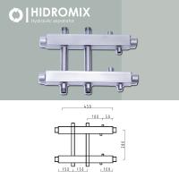Двухсторонний коллектор Hidromix 1 выход вниз 1 выход наверх до 180 кВт