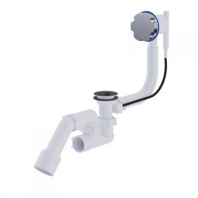 Сифон ANI Plast EM321 для ванны полуавтомат с ревизией, с выпуском и переливом 1 1/2