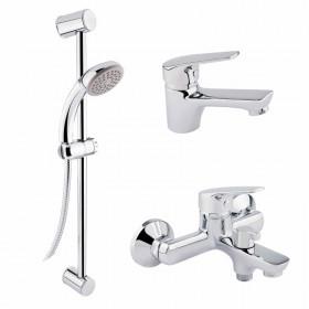 Набор смесителей для умывальника, ванны и душевая стойка Q-tap Set CRM 35-111